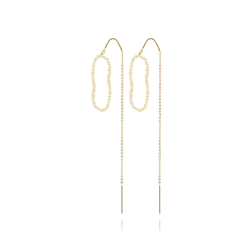 Mini Pearl With Gold Chain Earrings