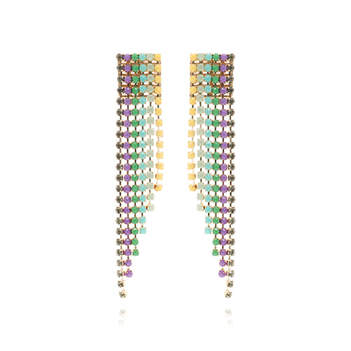Ethnic Color Line Stone Long Earrings