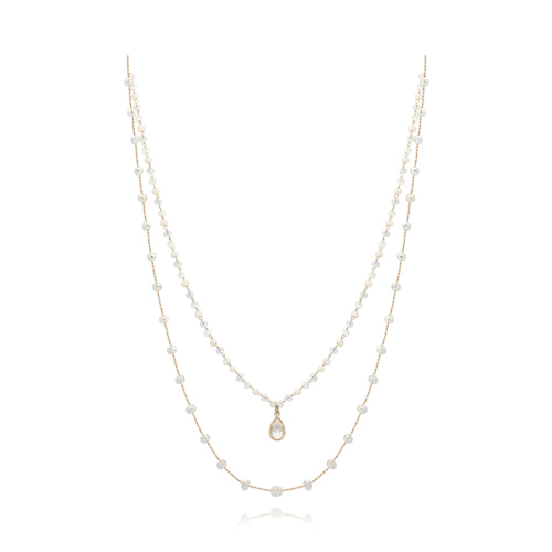 Crystal Double Line Necklace