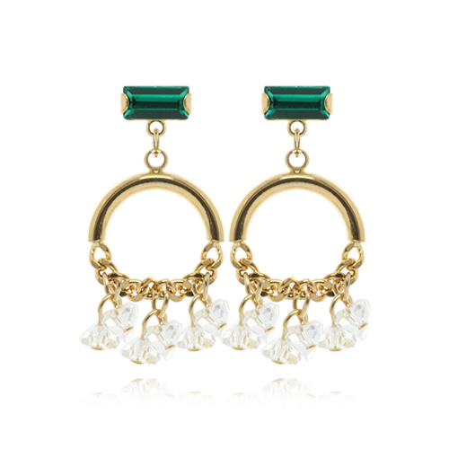 Green Square With Gold Chain Drop Earrings