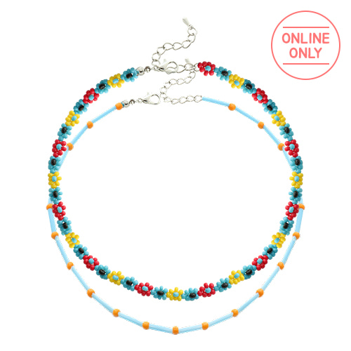 Color Beads Flower Layered Necklace SET