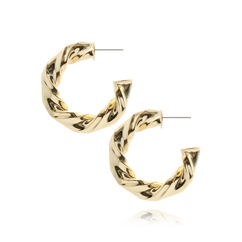 Crumple Gold Ring Post Earrings