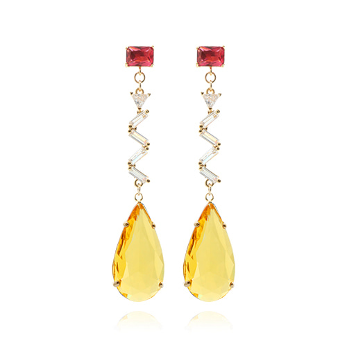 Autumn Yellow Crystal Drop Earrings