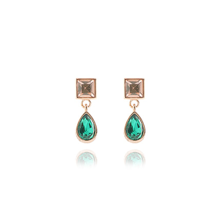 Champagne Crystal Square Drop Earrings