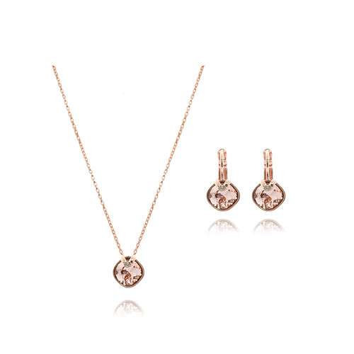 Champagne Crystal Earrings/Necklace Set