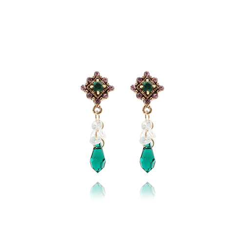 Antique Green Crystal Drop Earrings