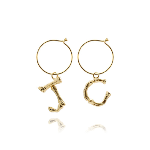 [92.5 Silver] Gold Initials Drop Earrings