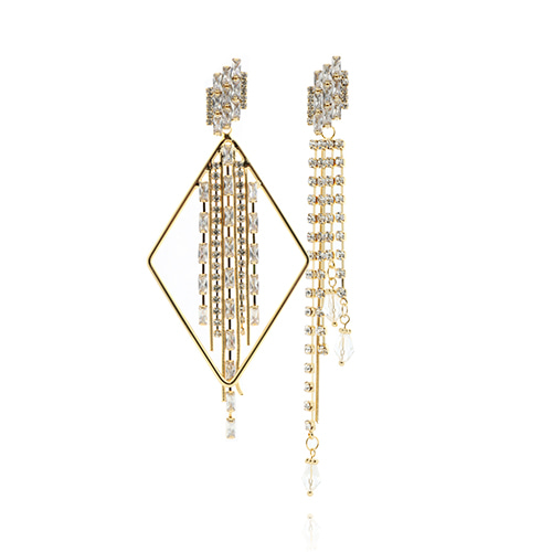 Gold Line Square Drop Earrings