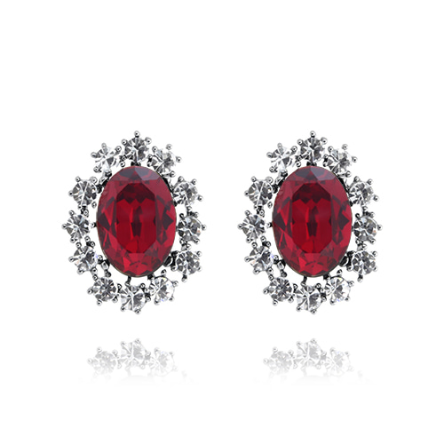 Ruby Red Crystal Post Earrings