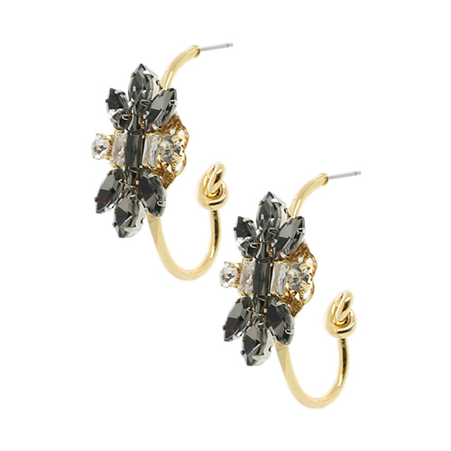 Black Flower Crystal Ring Post Earring