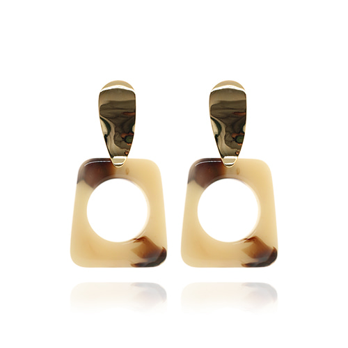 Beige Square Formica Drop Earrings