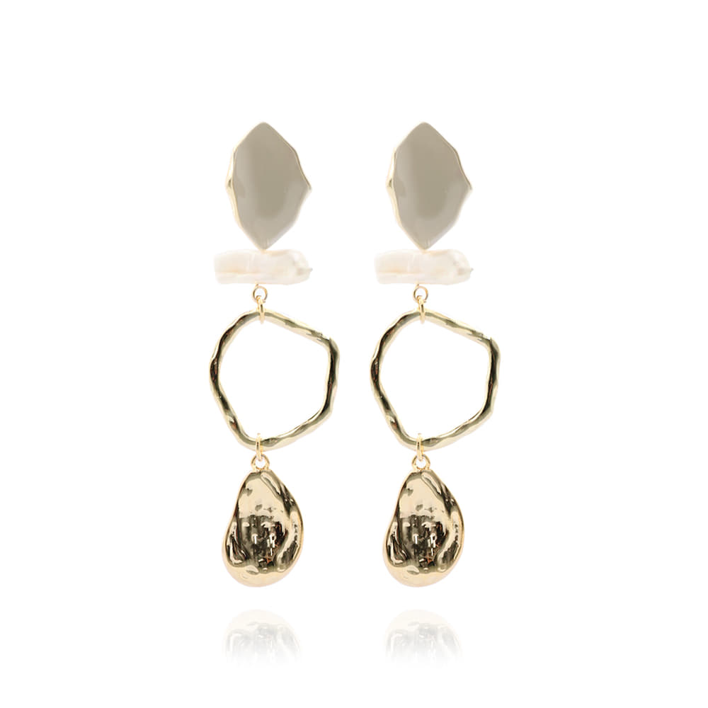 Gold Stone Ring Drop Earrings