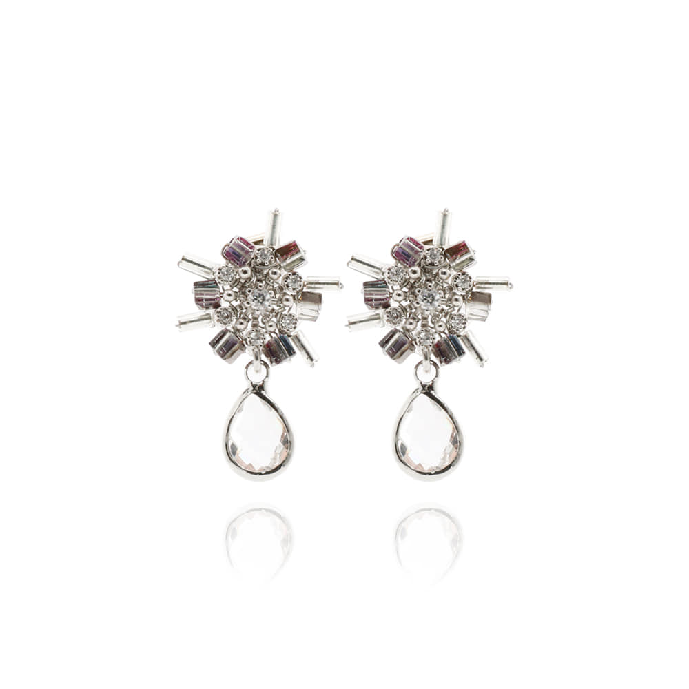 Silver Bar Flower Drop Earrings