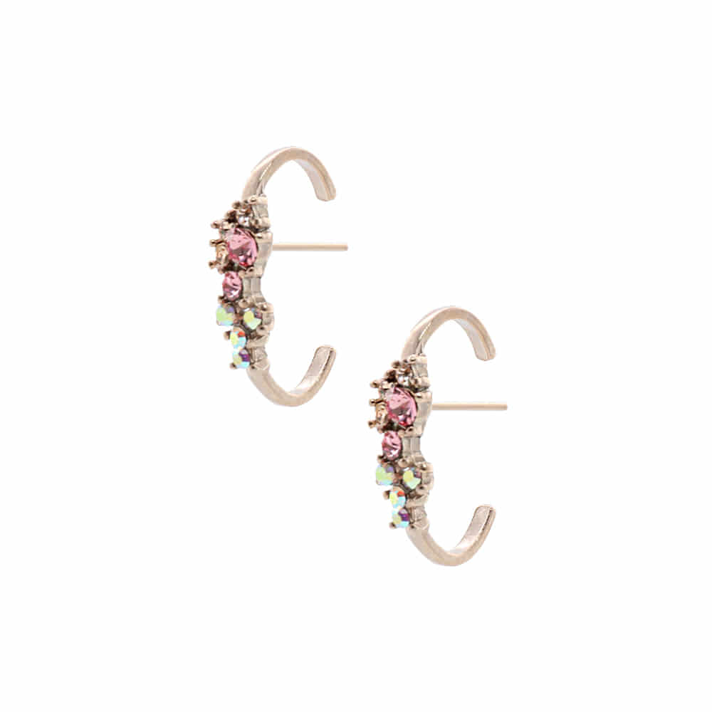 Crystal Flower Earcuffs Type Earrings