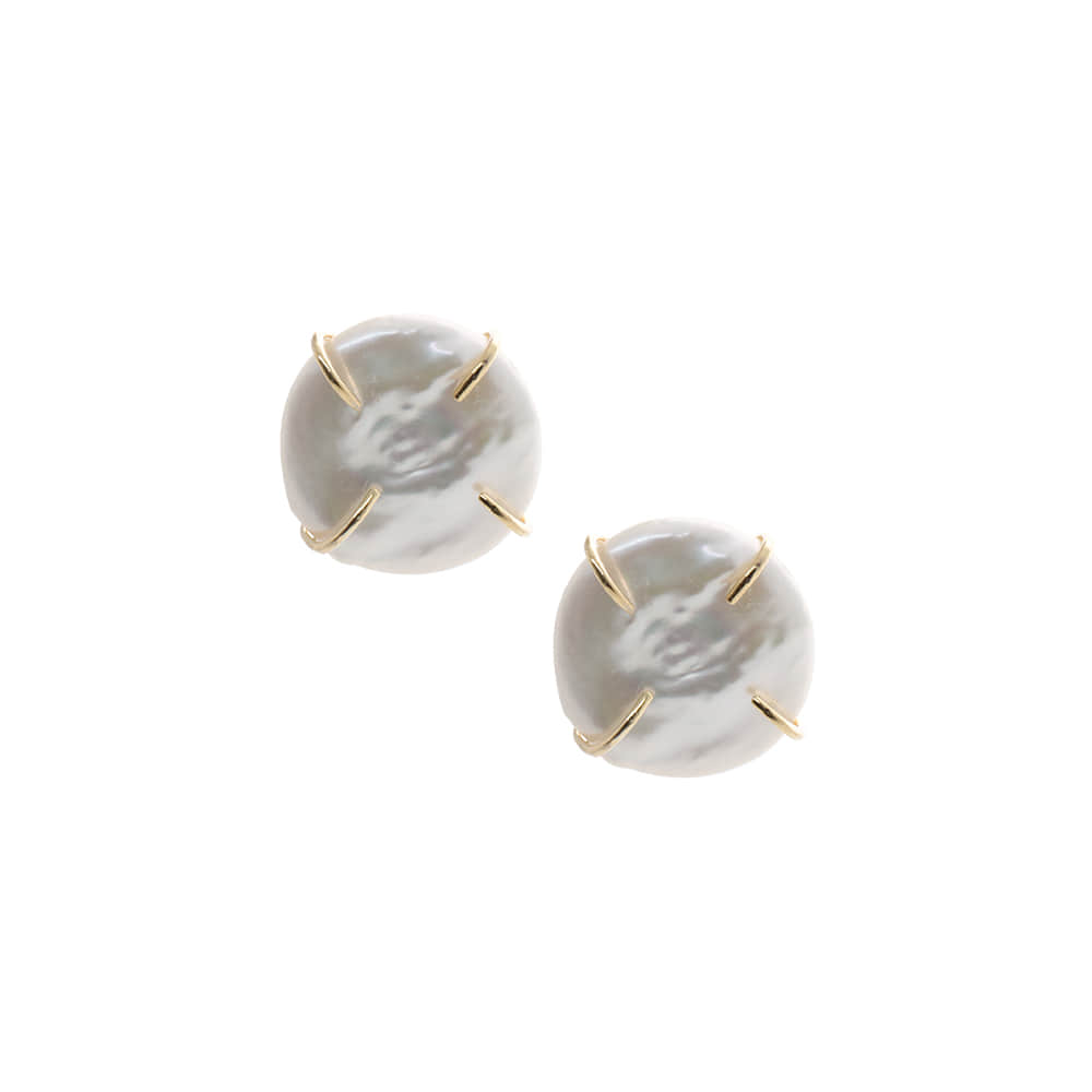 Natural Pearl Post Earrings[92.5 Silver]