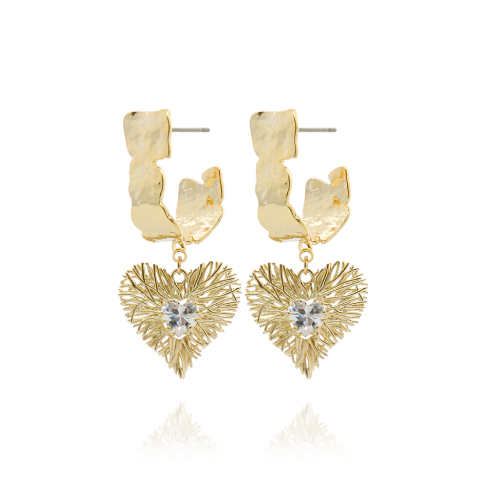 Gold Branch Heart Earrings
