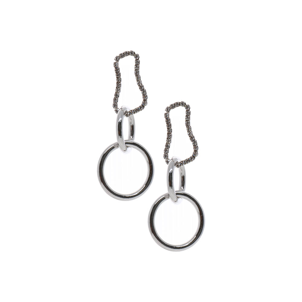 Silver Circle Chain Drop Earrings