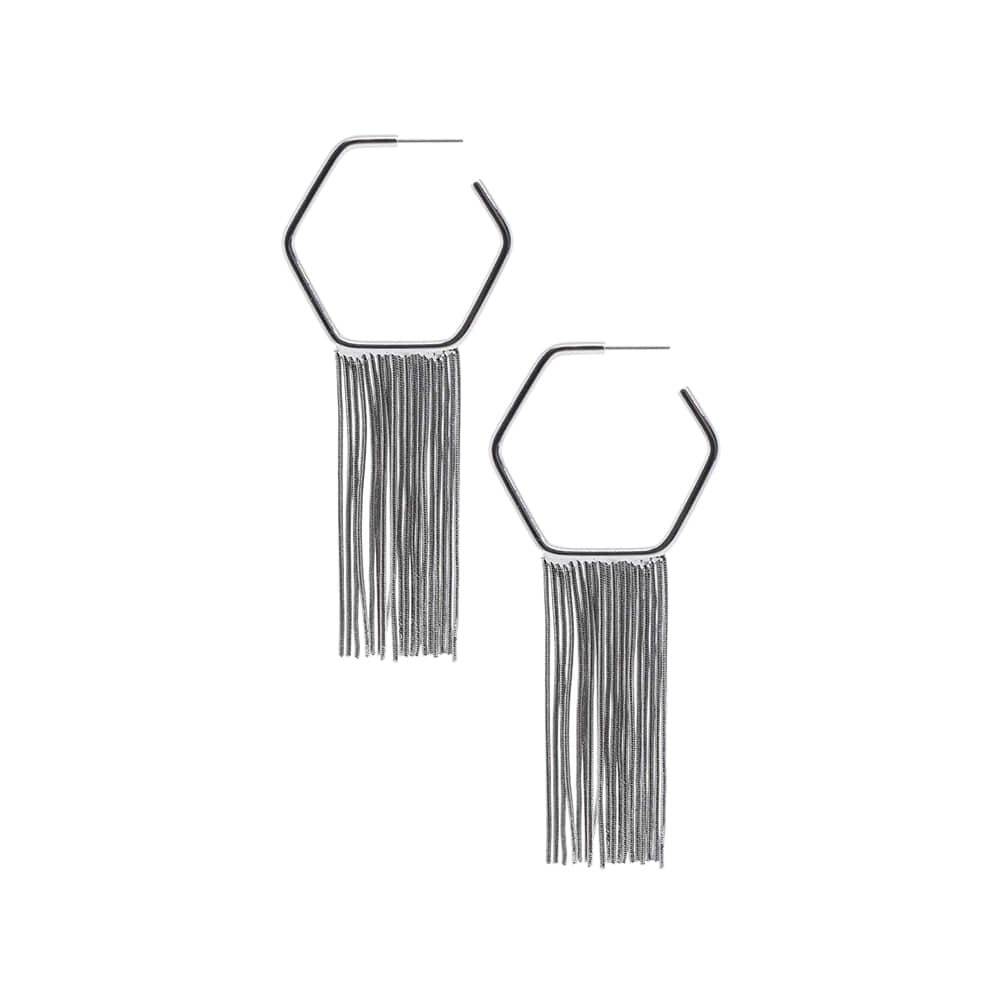 Silver Hexa Fringe Earrings
