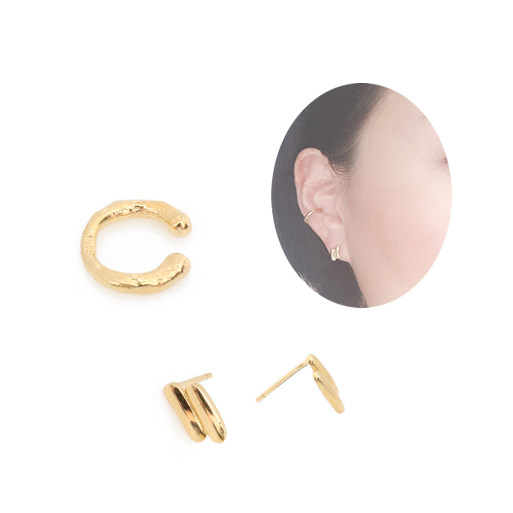 92.5 silver Crumple Earrings & Earcuff SET